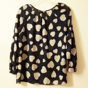 J-Crew | Blue-white hearts long sleeve Blouse